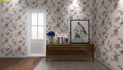 วอลเปเปอร์ลายดอกไม้สีชมพูพื้นสีขาว